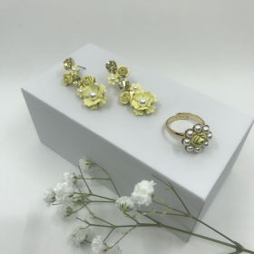 Náušnice Kady žlté s prsteňom