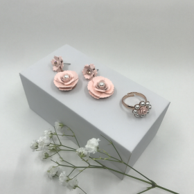 Náušnice Lena ružové s prsteňom