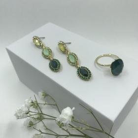 Náušnice Elise zelené so zeleným prsteňom