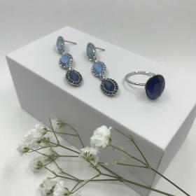 Náušnice Elise modré s prsteňom