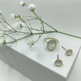 Náušnice Dory biele s prsteňom