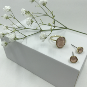 Náušnice Dory marhuľové s prsteňom