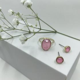Náušnice Dory ružové s prsteňom