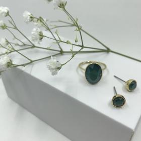 Náušnice Dory zelené s prsteňom