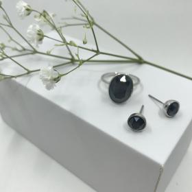 Náušnice Dory šedé s prsteňom