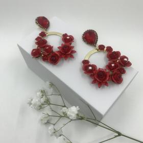 Náušnice Serena červené s ružičkami