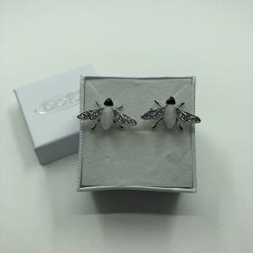 Náušnice strieborné muchy s mesačným kameňom a drobným krištáľom