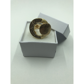 Prsteň zlatý s kruhovým vzorom so šedými krištáľmi na elastickej gumičke