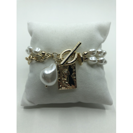 Náramok dvojradový biely perlový so zlatým príveskom