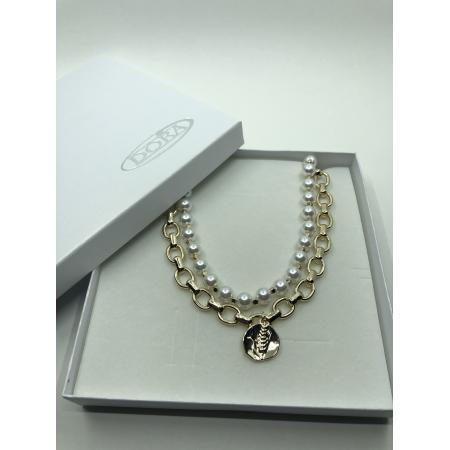 Náhrdelník dvojradový biely perlový so zlatým príveskom