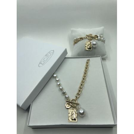 Súprava biela perlová so zlatým príveskom